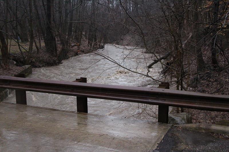 Euclid Creek High Water by Bridge