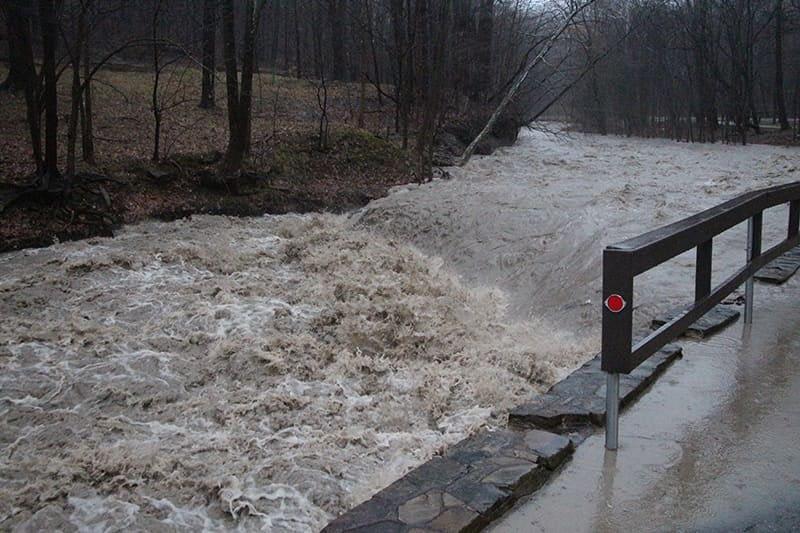 Euclid Creek Overflowing Banks