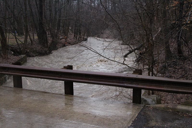 Euclid Creek High Water by Bridge